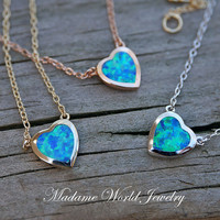 Reconstitute Blue Opal Bezel Set Heart Necklace