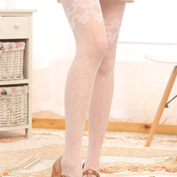 White Hosiery Pantyhose Tattoo Legging Tights