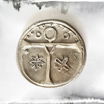 Montsegur Cathar X Large Ceremony Coin Cross, White Bronze Rustic For ever New Medieval Coin, No pendant