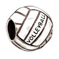 Volleyball Sports Charm Bead Pendent Fits Pandora & Similar Bracelets