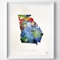Georgia Poster, Painting, Atlanta Watercolor, Map, Home Town, Art, USA, States, America, Wall Decor, silhouette, state love [NO 327]