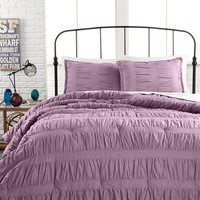 Ruched Stripes Lavender 3 Piece Comforter and Duvet Cover Sets