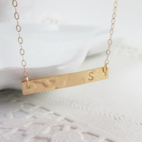 Personalized Bar Necklace, 14kt Gold Filled Necklace Gift for Her