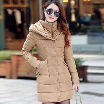 YOUMIGUE Winter Space Cotton Jacket Women Long Coat Parkas Thickening Female Warm Clothes Hooded High Quality Woman Coats 2017
