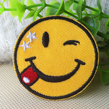Smile iron on patch E0333 by happysupply on Etsy
