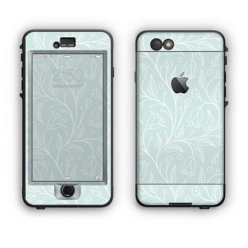 The Light Blue Floral Branches Apple iPhone 6 LifeProof Nuud Case Skin Set