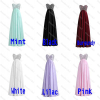 Beaded Long Chiffon Prom Dresses Sweetheart Shiny Crystals Sequins A-line Corset Women Formal Evening Bridesmaid Lilac/Pink/Black/White/Mint