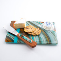 Cheese Board Serving Set - Fused Glass - Southwestern Style - Glass Cutting Board - Cheese Knife - Dip Spreader - Serving Tray - Gift Set