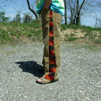 Patchwork Corduroy Pants Brown Red Orange Green Hippie Handmade Festival Heady  Kynd Valley Mens 36