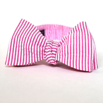 Men's Bow Tie - Fuchsia Seersucker - Hot PInk and White Stripe Bowtie - Adjustable