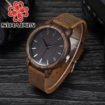 SIHAIXIN Black Bamboo Hand-Made Luxury Watch with Leather Wrist Band