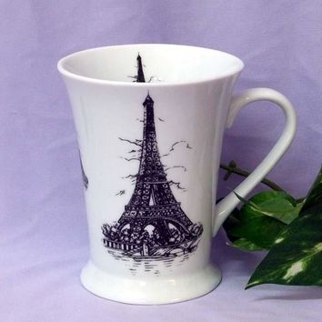 Set of 2 Floral Latte Mugs - Eiffel Tower