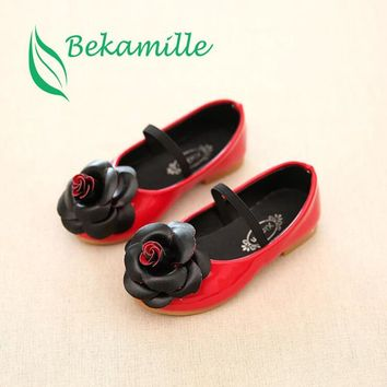 Bekamille New Girls Kids Leather Shoes Autumn Children Casual Floral Single Shoes Girl PU Flower Sneaker Size 21-36