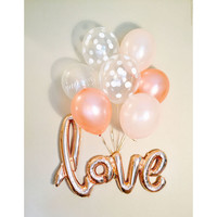 LOVE Rose Gold Balloons, Love Balloon, Rose Gold Love Balloon  Rose Gold Wedding Rose Gold Bridal Shower Engagement Photo Prop Balloons