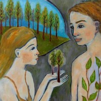 Giclee Art Print - Spiritual Man and Woman Talking with Trees Nature