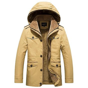 Autumn  Casual Hooded Coats Men Outwear Men Thick Warm Medium Long Military Style Clothing