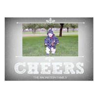 CHEERS Holiday Photo Card - Grey with Snowflakes