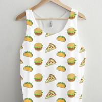 Burger Pizza Taco Cartoon Pattern Unisex Tank Top