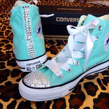 Rhinestone High Top Converse With Ribbon From