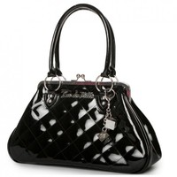 Lux De Ville Sin City Kisslock Handbag - Black | Classic Vintage Design