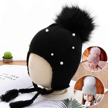 1PC Hot Boy Girls Child Winter Solid Color Pearl Decor Hair Fur Big Ball Earbud Knit Woolen Hats Caps