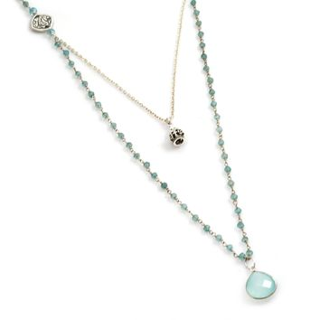 Apatite Rosary Chain and Aqua Chalcedony Sterling Silver Necklace with Sterling Silver Crown Charm