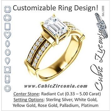 Cubic Zirconia Engagement Ring- The Rachana (Customizable Radiant Cut Design with Wide Split-Pavé Band and Euro Shank)