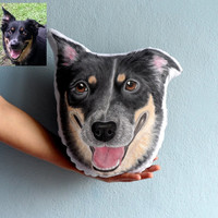 Custom Dog Portrait  Pillow - Australian Shepherd Dog , Personalized  gift for pet lovers, gift for dog lovers