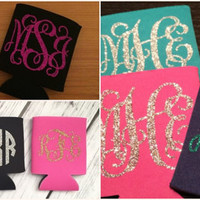 Monogram Can Cooler/Monogram Can Wrap/Monogram Koozie/Bridal Gift/Party Favors/Personalized Koozie/Personalized Can Cooler/Monogram