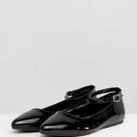 New Look Wide Fit Black Patent Ankle Strap Point Flat Shoe at asos.com