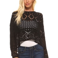 Women's Cable Knit Crop Sweater