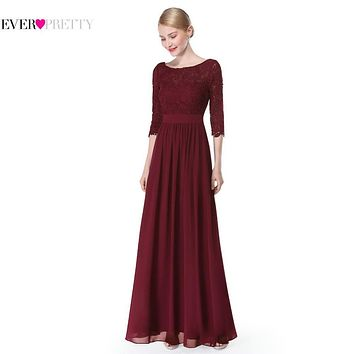 Formal Evening Dresses New Arrival 2017 Women Elegant 3/4 Sleeve Lace Sexy EP08412 Special Occasion Long Evening Dresses Gown