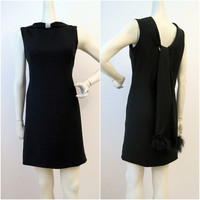 60s LBD Black crepe Mini Dress with Scarf Back and by voguevintage