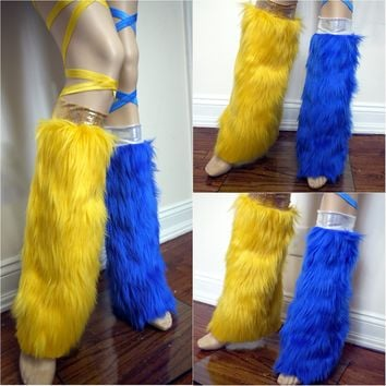 Sun and Moon Leg Warmers Fluffies Fur Dance Halloween Costume Accessories