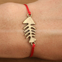 Adjustable Fish bone charm bracelet, vintage style fish bracelet for gift by mosnos