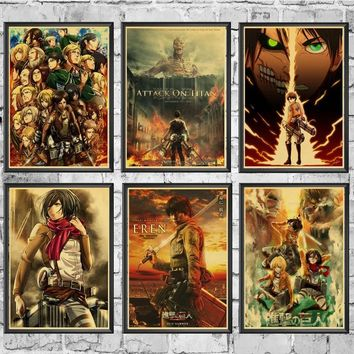 Cool Attack on Titan Japanese Anime  2 Posters Wall Stickers Retro Poster Prints High Definition For Livingroom Home Decoration AT_90_11