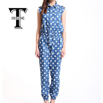 T-Inside 2016 Women's Casual Cotton Sleeveless Jumpsuit Playsuit Romper Overall Clothing with High Waist Blue S/M/L