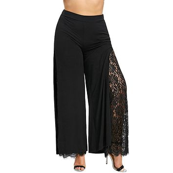 High Slit Floral Lace Palazzo Pants