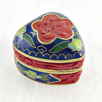 Vintage Carved Cinnabar Box, Chinese Cloisonne Enamel Trinket Box, Small Brass Heart Trinket Box, 1960s Chinese Asian Oriental Home Decor