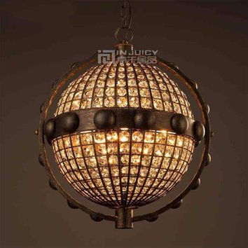 Retro Vintage Globe K9 LED Iron Crystal Loft Cafe Bar Corridor Lamp Chandelier Ceiling Light Restaurant Lighting Droplight Decor