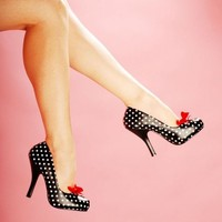Black Polka Dot Cutiepie Pump from Pinup Couture Shoes | Pinup Girl Clothing