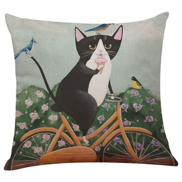 Cute Cat Sofa Bed Home Decoration Festival - Pillow Case Cushion Cover