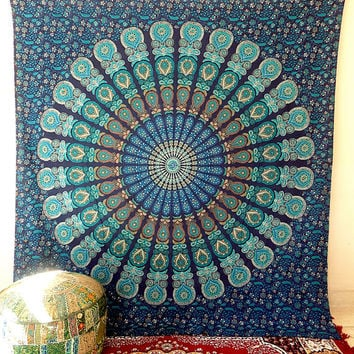 Blue Mandala hippie tapestry wall hanging Indian by rangRaizzi
