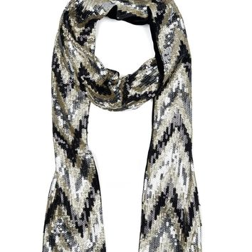 Multi Skinny Zig Zag Sequin Scarf by Juicy Couture, No