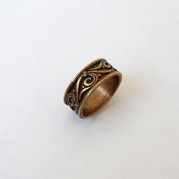 Floral Ornament Ring Metal Brass Casting Ring Size 6,5