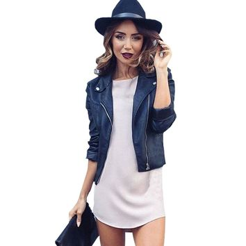 2018 Mujer Fashion Women Fuax Leather Jacket And The Wind Zipper Bright New Ladies Leather Coat Jacket Women Dropship