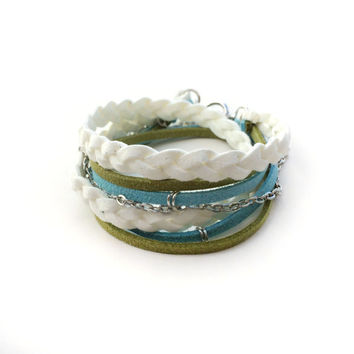 Suede Wrap Bracelet Blue Green and White Braided