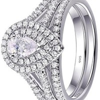 1.3ct Pear White AAA Cz 925 Sterling Silver Wedding Engagement Ring Set