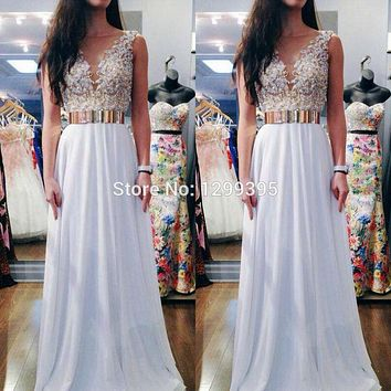 Elegant Long White Prom Dresses with Gold Belt  with Sequins and Beads Open Back Evening Dress Vestido de Noite