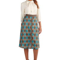 ModCloth Vintage Inspired Long A-line Beyond the Classroom Skirt